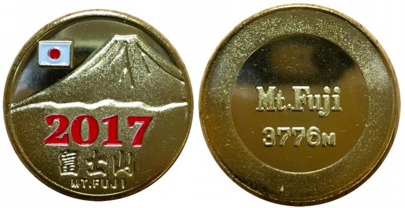 富士山 記念メダル 西暦 2017 赤
